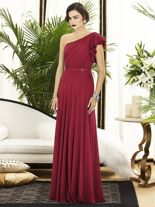 Bridesmaid Dress by    The Dessy Group  |    Pocketful of Sunshine Event Design Inspiration: Dusty Blue & Cranberry