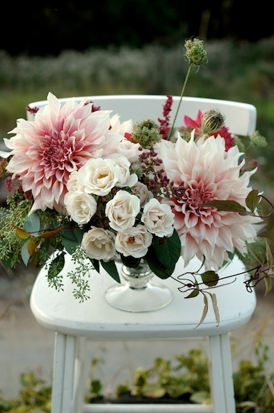 Arrangement by    Clare Day Flowers at Red Damsel Farm  |    Pocketful of Sunshine Event Design Inspiration: Dusty Blue & Cranberry