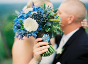 Anne Robert Photography    | via    The Full Bouquet  |    Pocketful of Sunshine Event Design Inspiration: Dusty Blue & Cranberry
