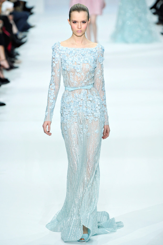 Dress by    Elie Saab   |    Pocketful of Sunshine Event Design Inspiration: Dusty Blue & Cranberry