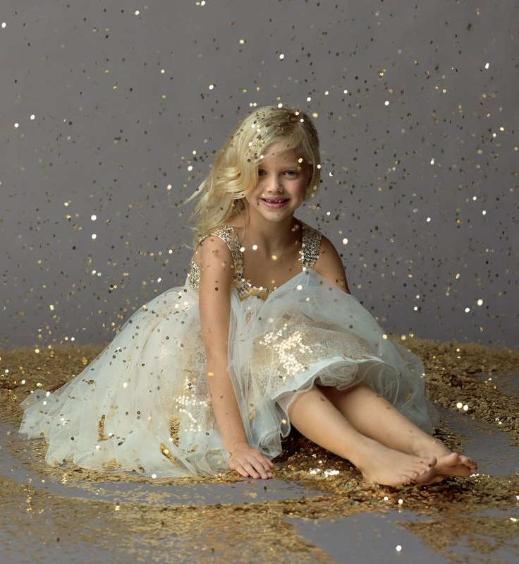 Gold Sequin Flower Girl Dress - Seahorse Collection by Watters  |    Pocketful of Sunshine Event Design Inspiration: Dusty Blue & Cranberry