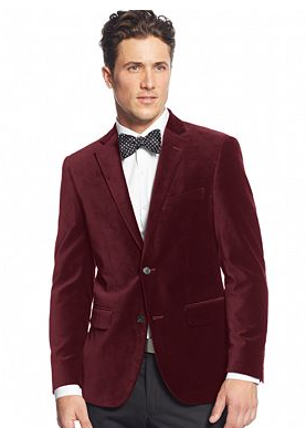 Cranberry Velvet Blazer by Alfani RED at Macy's  |    Pocketful of Sunshine Event Design Inspiration: Dusty Blue & Cranberry