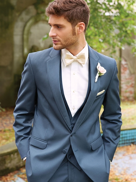 Allure Men's Slate Blue Tuxedo    |  Pocketful of Sunshine Event Design Inspiration: Dusty Blue & Cranberry