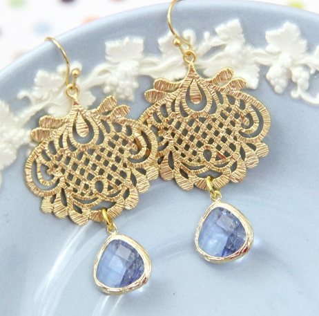Light Blue & Gold Filligree Chandelier Earrings by Love Like Style  |    Pocketful of Sunshine Event Design Inspiration: Dusty Blue & Cranberry