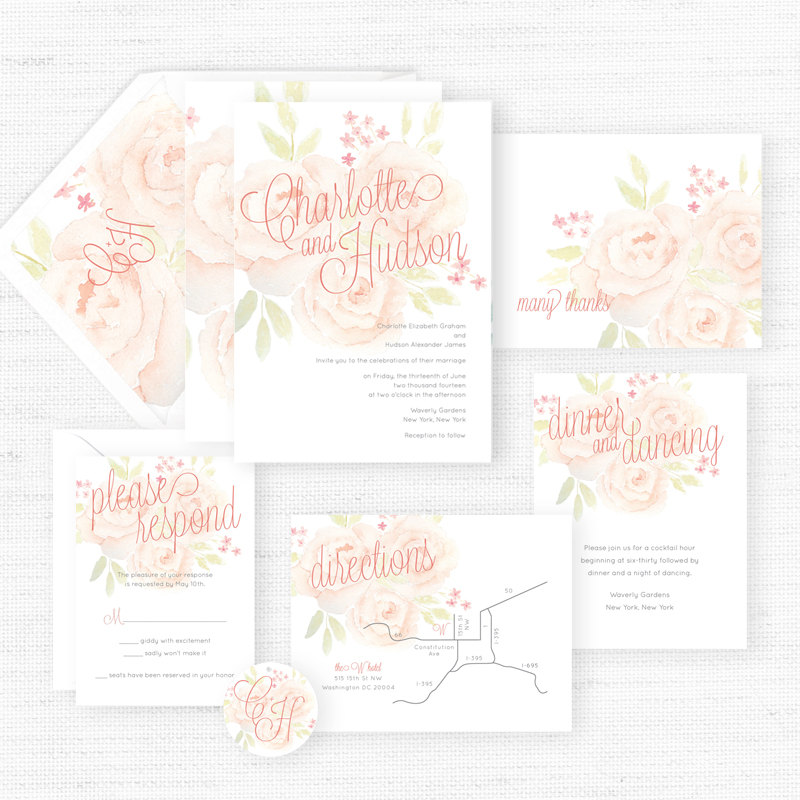 The Charlotte Paper Suite via Beloved Paper | Pocketful of Sunshine Event Design | Full-Service Wedding Planning | Columbia, SC | 2016 Colors Of The Year: Rose Quartz & Serenity