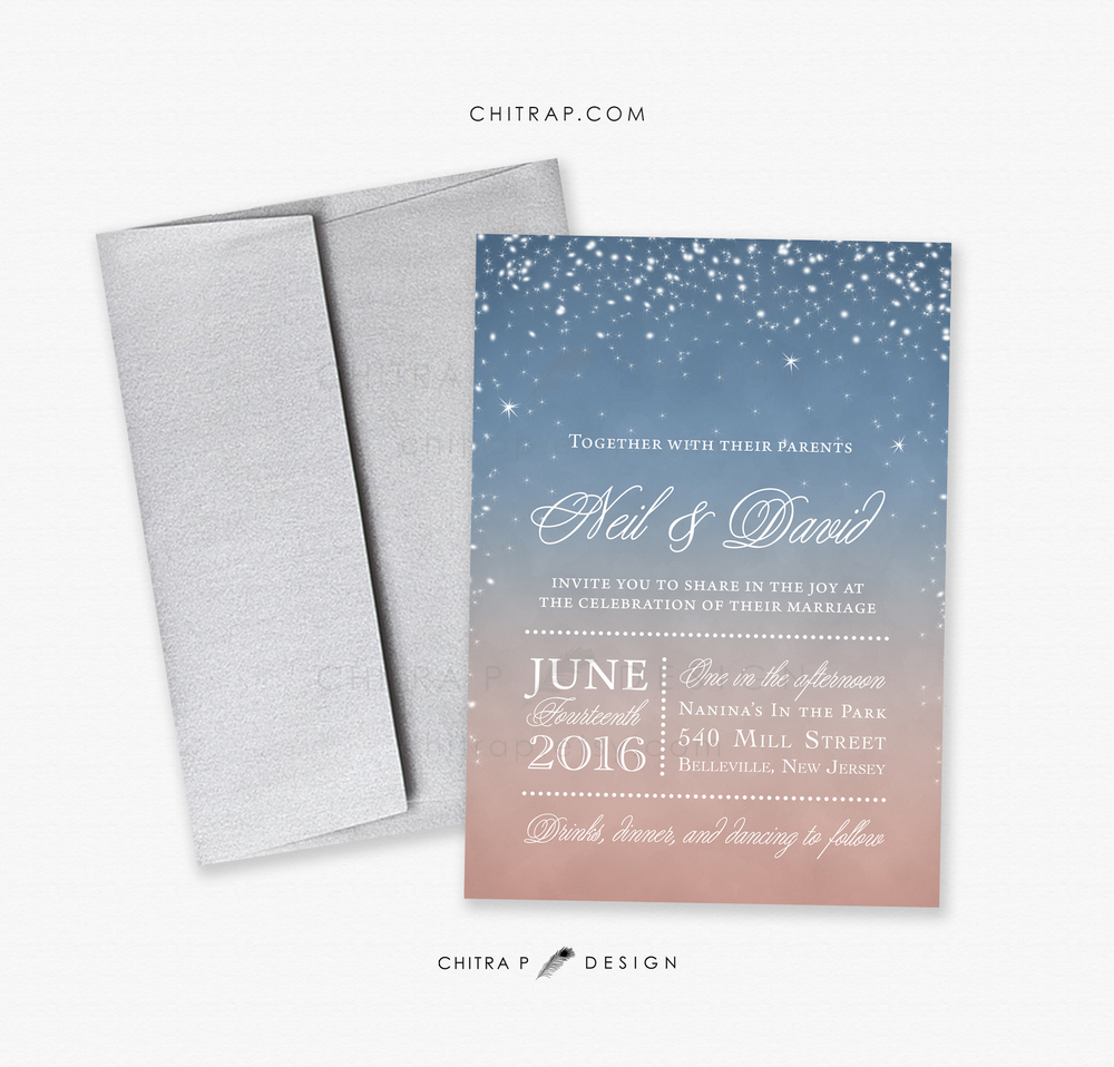Starry Night Invitations by Chitra P Designs | Pocketful of Sunshine Event Design | Full-Service Wedding Planning | Columbia, SC | 2016 Colors Of The Year: Rose Quartz & Serenity
