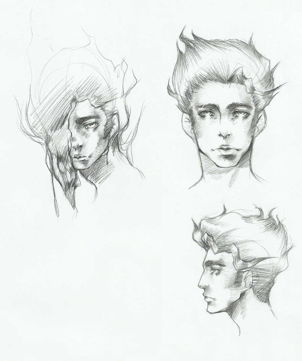 Character concept sketches of Victor