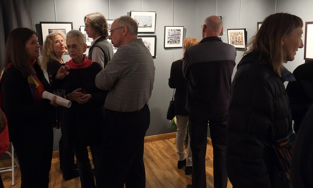 In the grey gallery: Karen Celella, Janet Glazer, Ray Germann
