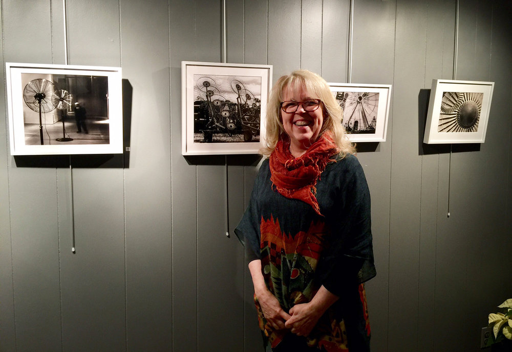 Pamela Waldroup with her works