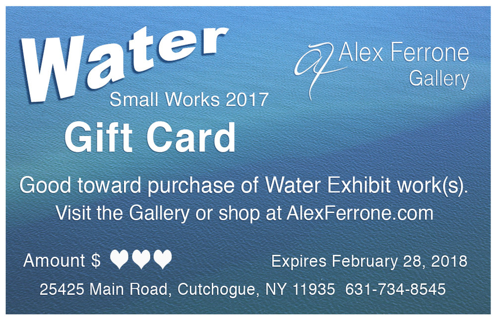 Gift Cards in any amount are available for the Water Exhibit Works.