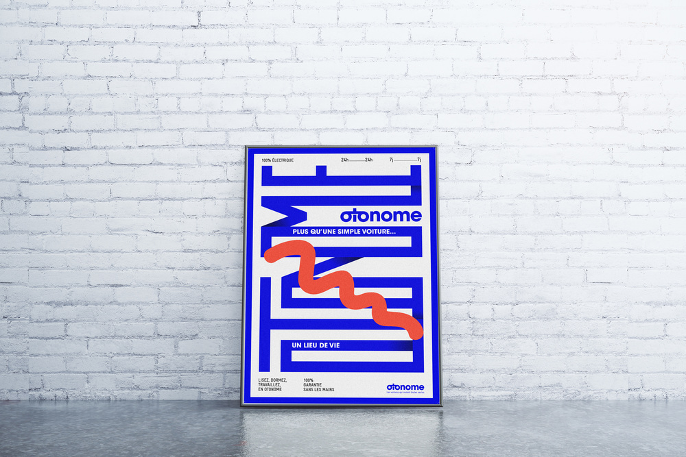 "Otonome is my master thesis project. More than a brand, it's the first ad campaign about driverless car.  - 3 commercials for TV  - 3 corporate posters  - 1 brand guideline book  - 1 ""print"" concept poster"
