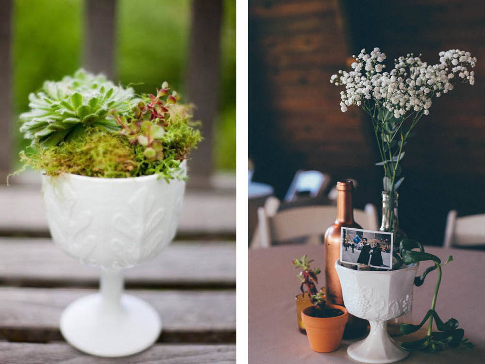 Milk glass and succulents - centerpiece inspiration