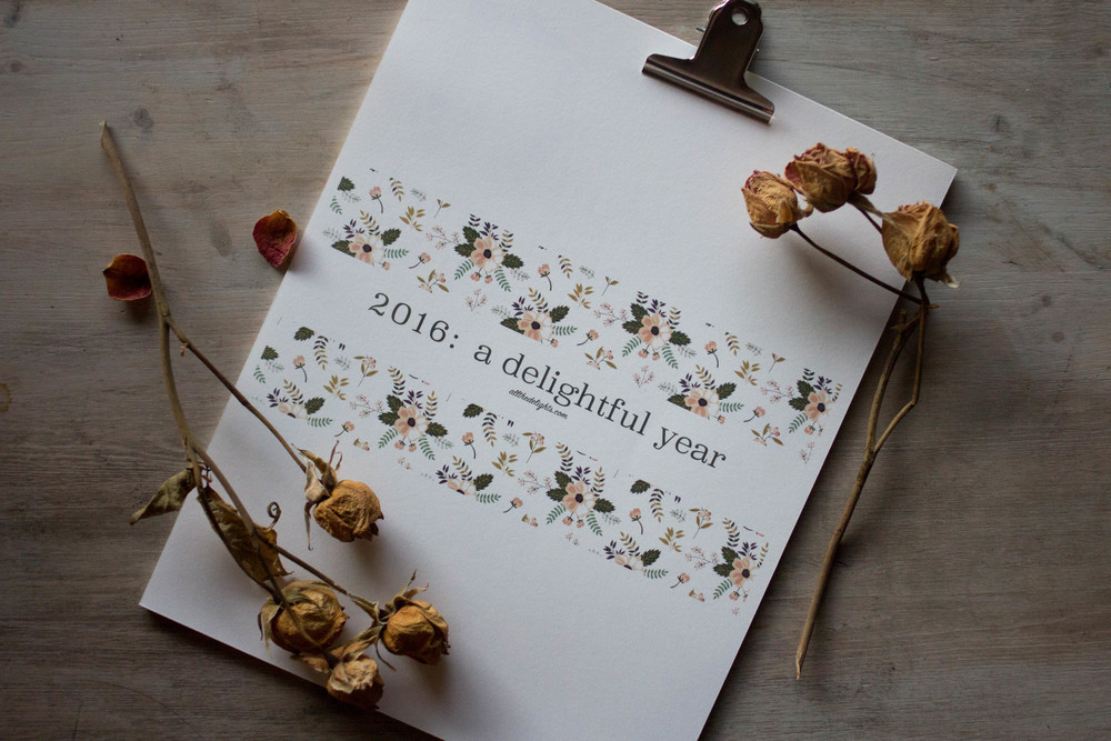 2016: A Delightful Year Calendar (Printable & Digital Download) by allthedelights.com