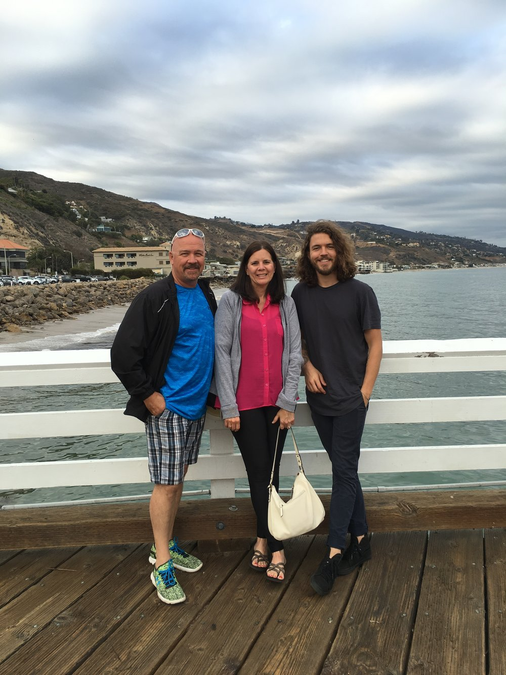 Matty with my parents in Malibu.