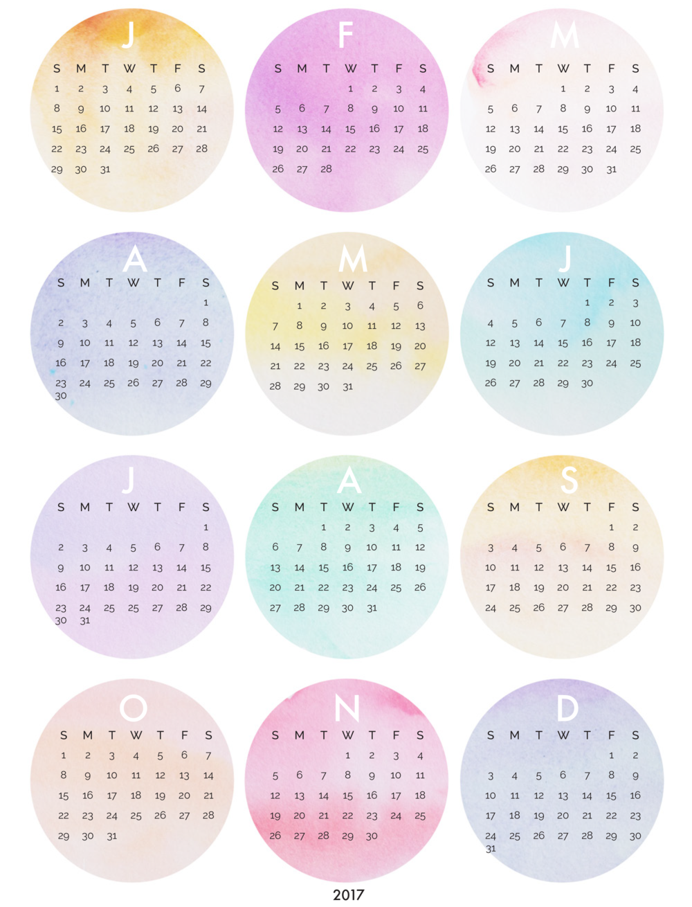Free 2017 Watercolor Calendar Printable | allthedelights.com