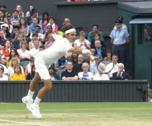"""Federerwimblws2014-2"" by Brian Minkoff-London Pixels - Own work. Licensed under CC BY-SA 3.0 via  Wikimedia Commons"