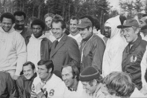 President Nixon was a huge redskin fan, famously calling in a play during a game. By the summer of the 1974, he had other concerns. Photo Credit: Oliver F. Atkins via  WikiMedia Commons .
