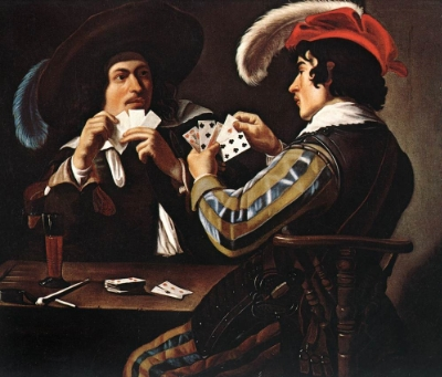 "A risk worth taking? ""Theodoor Rombouts - Joueurs de cartes"" by Theodoor Rombouts - Web Gallery of Art via  Wikimedia Commons ."