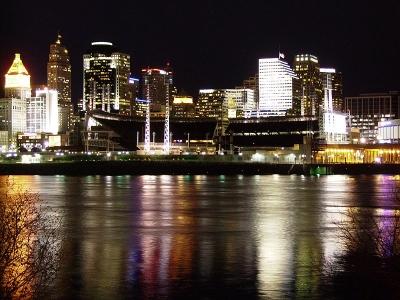 Cincinnati, Ohio on a calmer night. Photo Credit: Keith Lanser via  Wikimedia Commons .
