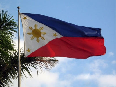 The Flag of the Philippines.  Photo by Mike Gonzalez, via WikiMedia Commons.
