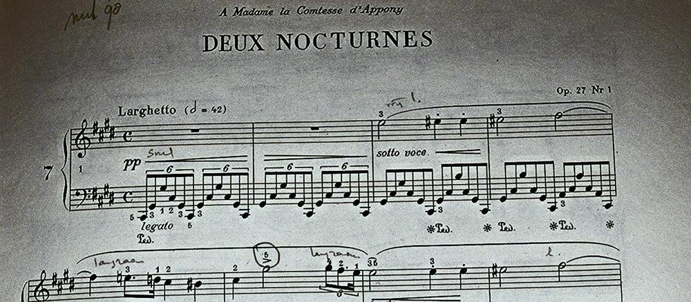 Wij bieden juridisch advies over auteursrechten van muziek. De componist van bovenstaande pianomuziek is bijvoorbeeld Chopin. Zijn werk bevindt zich in het publiek domein.