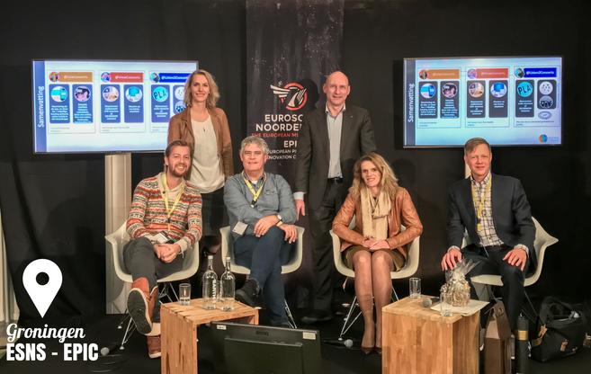 Ons panel op Noorderslag: Entertainment Production & Innovation Conference (EPIC). Vlnr Alan Luring, Mieke Boots, Kees van Weijen, Henk Pestman, Jessica Kroeske en mr. Mauritz Kop