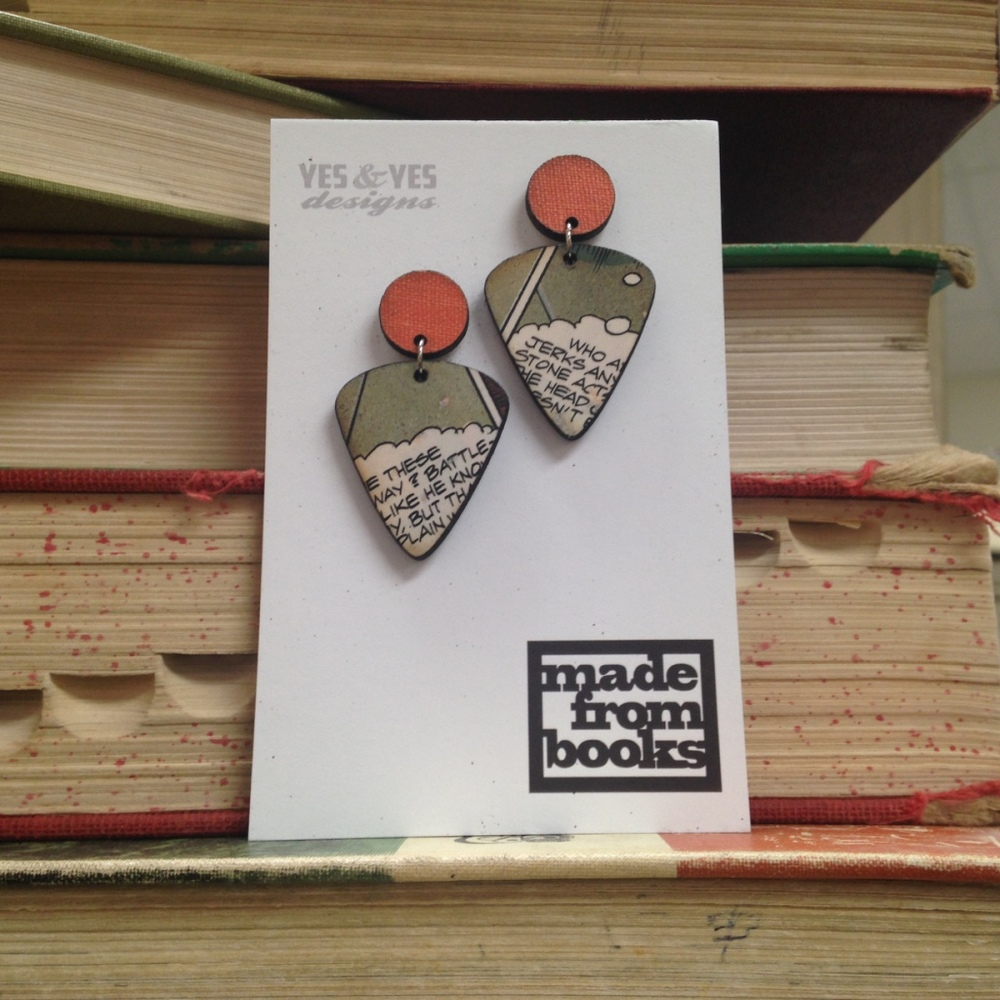 COMIC DUO GUITAR EARRINGS $34