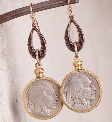 no Vintage bufflo nickel teardrop earrings_e1270.jpg