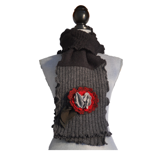 Gray and Red Scarf $56
