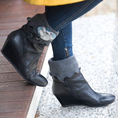Gray and Red Short Boot Toppers $28