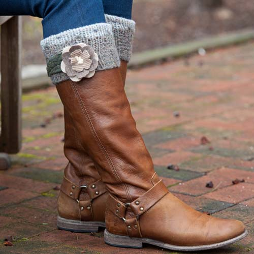 Navy and Natural High Boot Cuffs $34