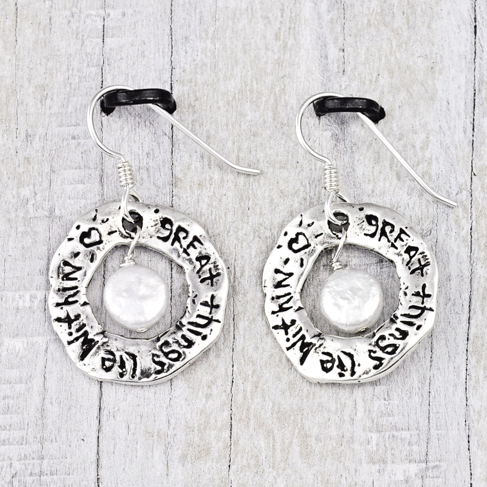 'GREAT THINGS LIE WITHIN' EARRINGS $36