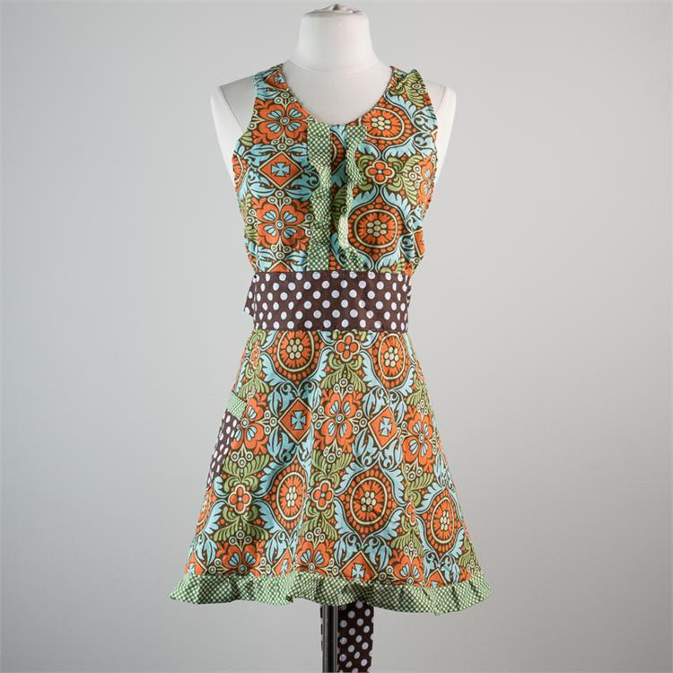 GREEN AND CHOCOLATE MEDALLION FULL APRON  $30