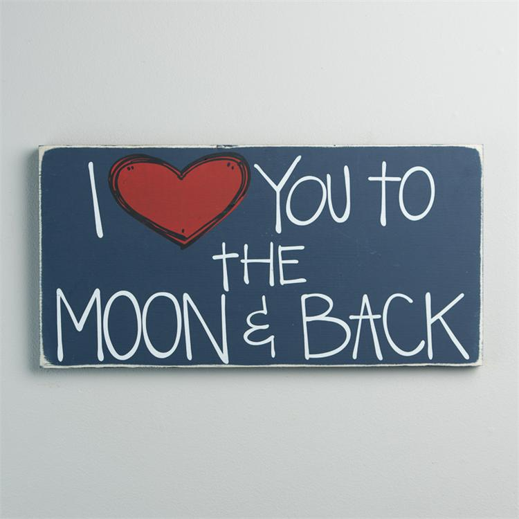 TO THE MOON AND BACK' BOARD SIGN - BLUE  $25