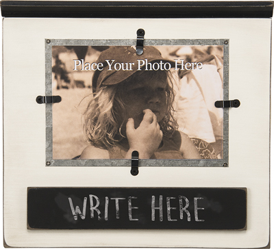 WOOD PHOTO FRAME W/CHALKBOARD  $19