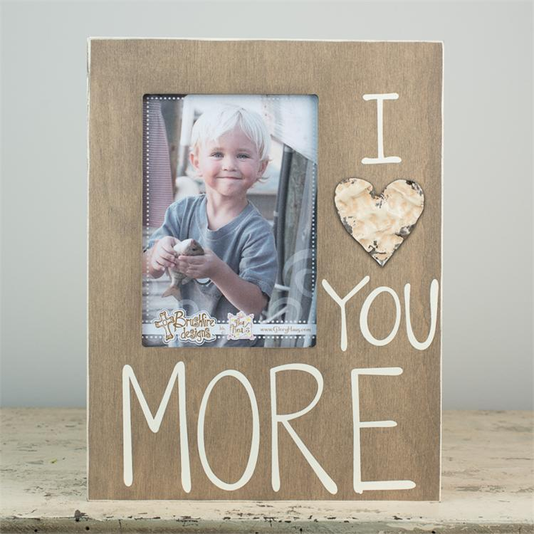'LOVE YOU MORE' BOARD FRAME WITH TIN HEART $32