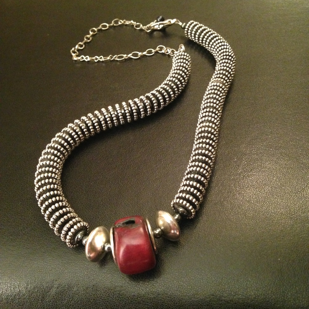 RED JASPER & STEEL NECKLACE $165