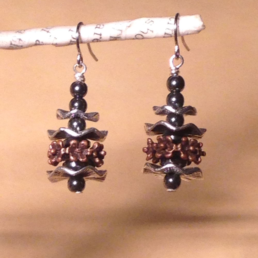 STEEL & COPPER EARRINGS $58