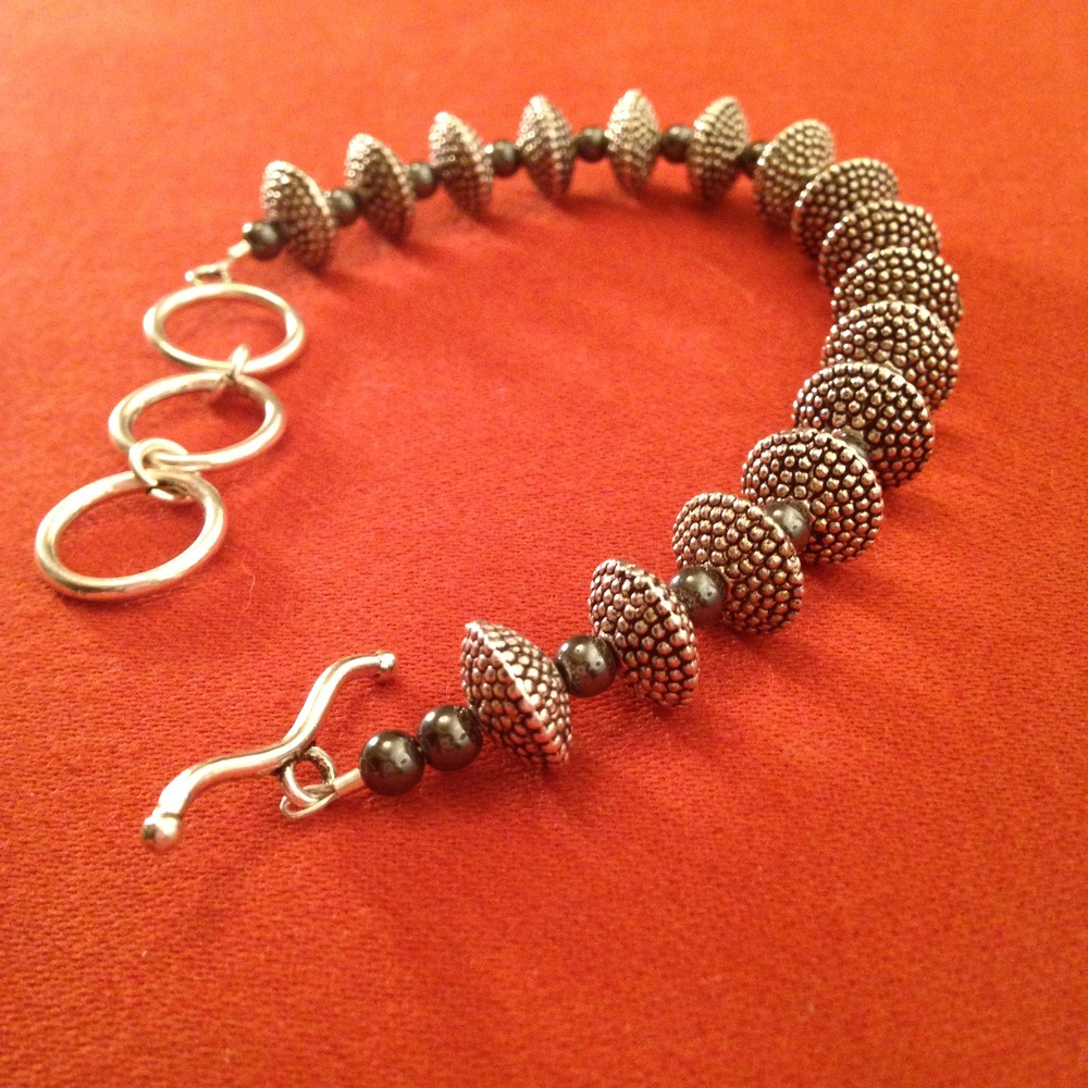 STEEL PEBBLE TEXTURE BRACELET $78