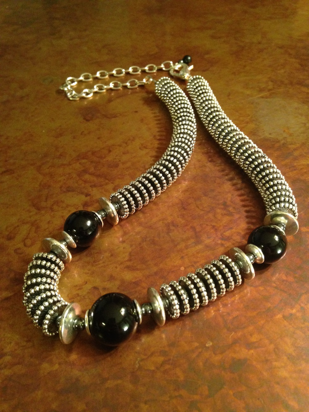ONYX & STEEL NECKLACE $165