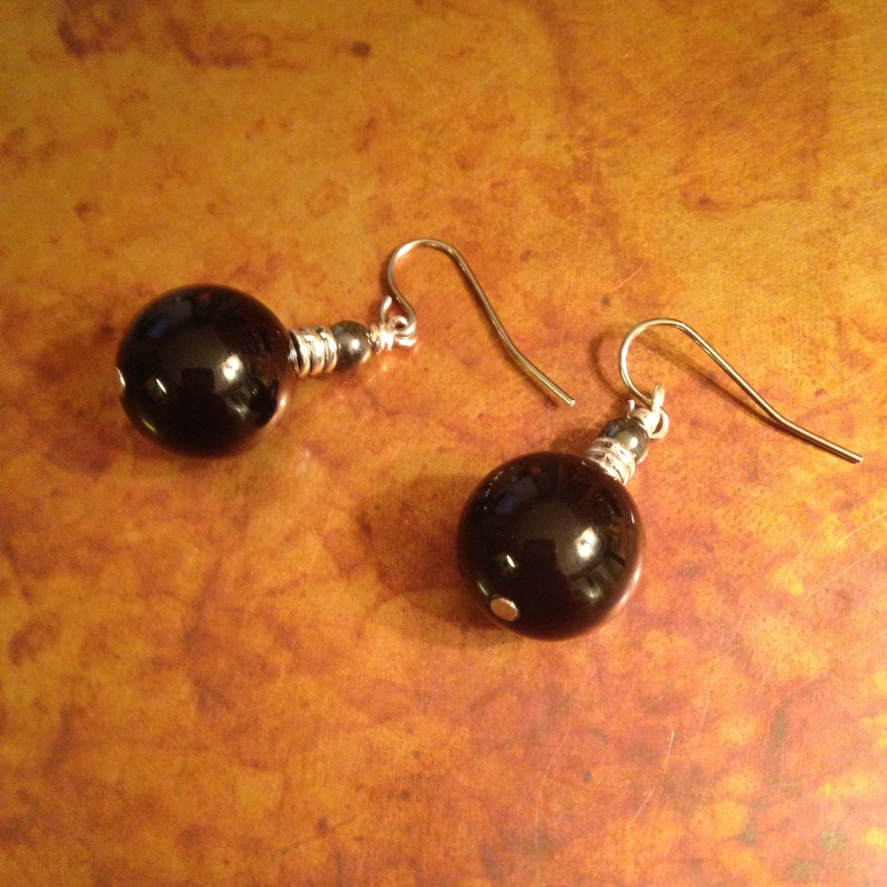 ONYX SPHERE EARRINGS $58