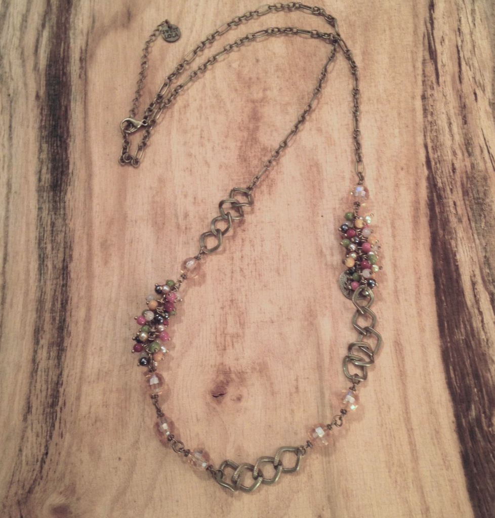 ANTIQUE BRONZE CHAIN NECKLACE WITH TINY BEADS $30.00