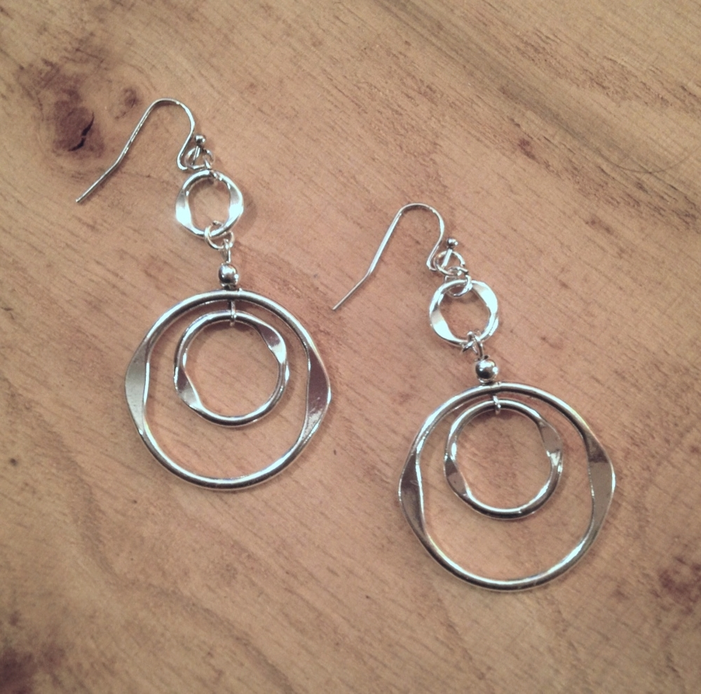 SILVER'ISH' ORGANIC RING EARRINGS $15.00