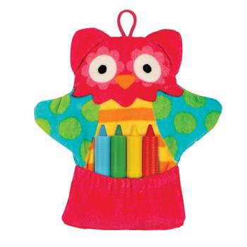 OWL BATH MITT WITH CRAYONS $10