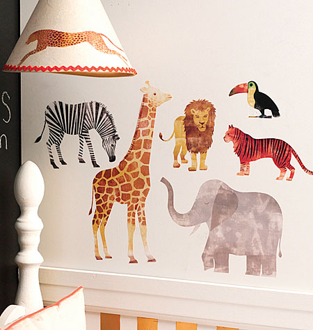 WILD ANIMALS PEEL N' STICK LARGE WALL DECALS $15