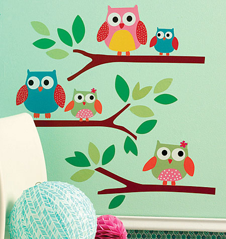 OWLS PEEL N' STICK LARGE WALL DECALS $15