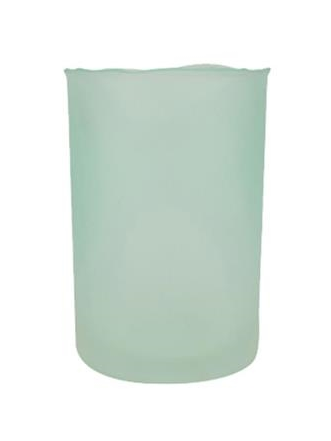 FROSTED GREEN GLASS PILLAR CANDLE HURRICANE $24