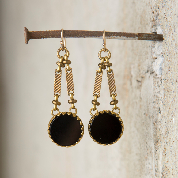 VINTAGE JET CABOCHON EARRINGS $118