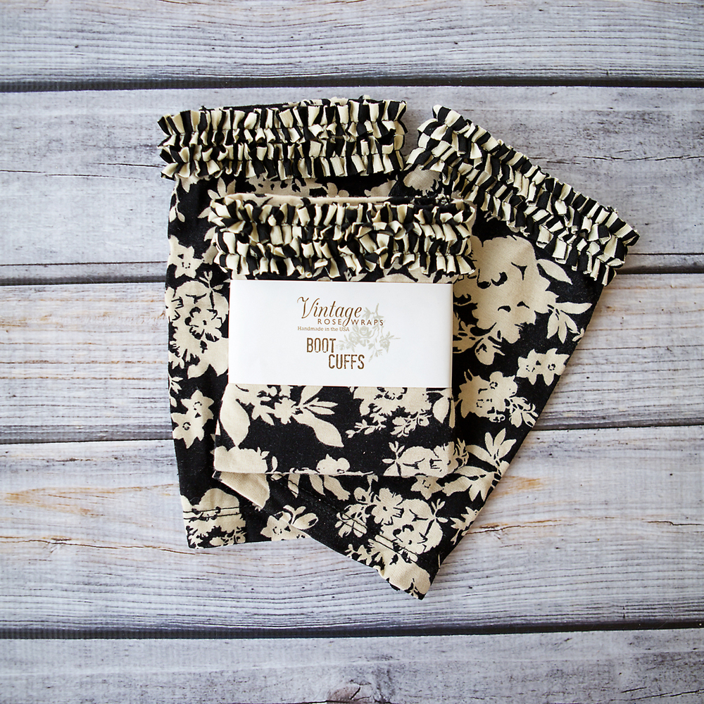 Black Floral Boot Cuffs