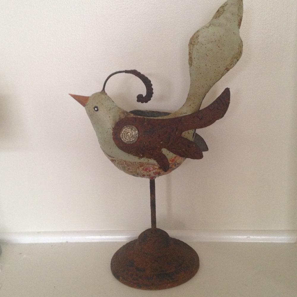 VINTAGE METAL DECOUPAGE BIRD $34